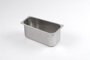 TRAP150 Vaschetta gelato trapezoidale in acciaio inox dim. 360x186x144 h150 mm