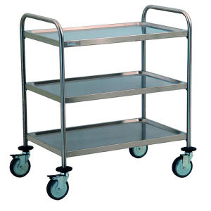 TEC1101 - Stainless steel trolley with 3 shelves molded