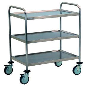 TEC1101 - chariot en acier inoxydable avec 3 tablettes moulées