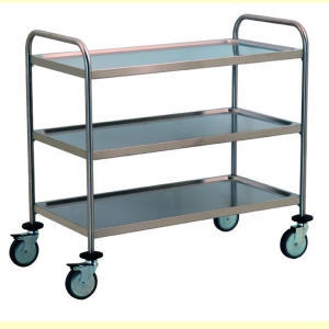 TEC1107 - Stainless steel trolley with 3 shelves molded