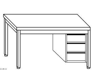 TL5217 Tavolo da lavoro in acciaio inox AISI 304 cassettiera dx alzatina 130x70x85