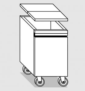 38056.78 Tramoggia carrellata semplice da cm 45x65x76h completa di coperchio