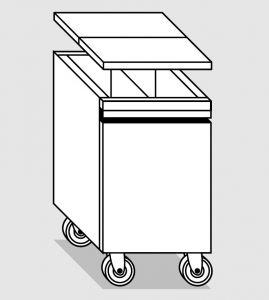 38078.46 Tramoggia carrellata semplice c.divisorio da cm 45x65x76h completa di coperchio