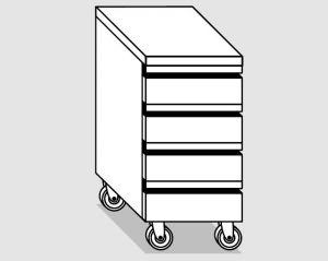 45220.04 Cassettiera ruote 4c gn1/1 h10 agi cm 40x70x84h