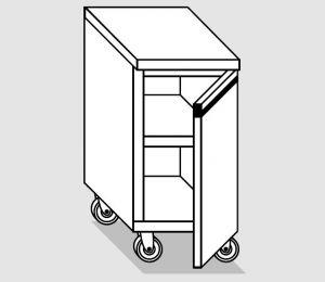 46200.06 Tavolo armadio agi 1 p/battente ruote cm 60x60x84h
