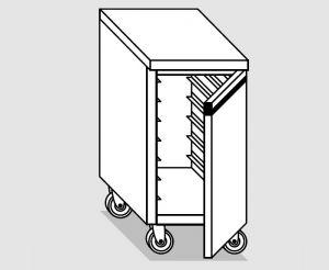 46300.04 Tavolo armadio agi 1 p/battente teglie gn1/1 ruote cm 40x60x84h