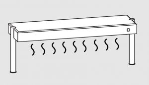 64011.13 Ripiano di appoggio tavoli 1 ripiano caldo 2 gambe cm 130x35x40h