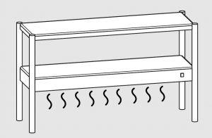 64101.16 Ripiano di appoggio tavoli 1 ripiano sup neutro cm 160x35x70h 1 ripiano inf caldo