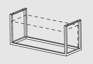66001.18 Supporto pensile a soffitto cm 188x40x140h