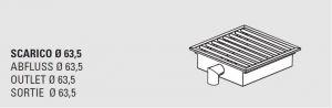 85000.03 Piletta sifonata a pavimento da cm 30x30x12h con filtro e scarico verticale laterale