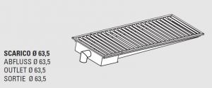 85010.14 Piletta sifonata a pavimento da cm 140x30x12h con filtro e scarico verticale laterale