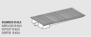 85011.08 Piletta sifonata a pavimento da cm 80x30x12h con filtro e scarico orizzontale laterale
