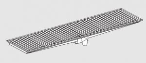 85020.40 Piletta sifonata a pavimento da cm 400x30x12h con filtro e scarico verticale frontale