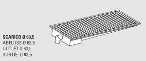 85110.14 Piletta sifonata a pavimento da cm 140x40x12h con filtro e scarico verticale laterale