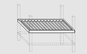 93730.30 Ripiano grigliato per tavoli past prof 138 cm 300x138x4