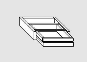 G2061.66 Cassetto singolo sotto tavolo cm 60x60x20h guide inox semplici