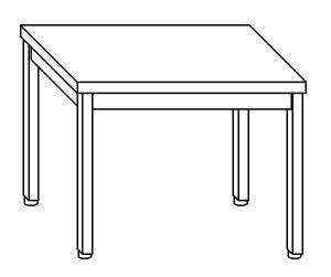 TL8008 Tavolo da lavoro in acciaio inox AISI 304 su gambe dim. 130x80x85 cm (prodotto in italia)