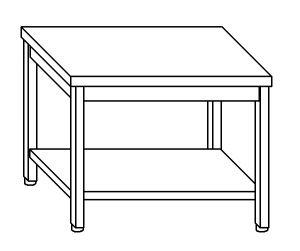 TL8023 Tavolo da lavoro in acciaio inox AISI 304 su gambe e un ripiano dim. 120x80x85 cm (prodotto in italia)