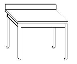 TL8032 Tavolo da lavoro in acciaio inox AISI 304 su gambe con alzatina dim. 70x80x85 cm (prodotto in italia)