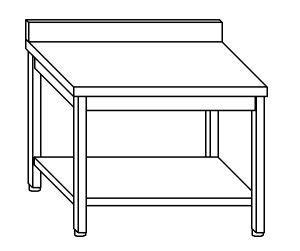 TL8055 Tavolo da lavoro in acciaio inox AISI 304 su gambe con alzatina e ripiano dim. 140x80x85 cm (prodotto in italia)