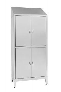 IN-S50.694.06 Placard à plusieurs étages en acier inoxydable Aisi 304 4 places à 4 places avec cloison sale / propre Cm.