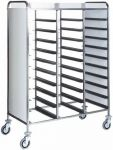 TCA 1470PW Stainless steel Tray-holder trolley for 30 trays wengé side panels