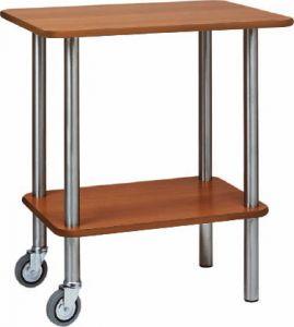 CA901 2RW Carrello gueridon legno tinta WENGE' 2 ruote 2 piedi fissi 70x50x78h