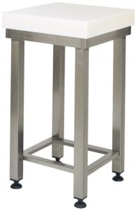 CCP8000 Bloque de polietileno de 8 cm con taburete de acero inoxidable 40x40x88h