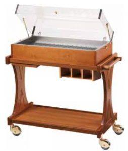 CL2785 Carrello refrigerato piastre eutettiche legno cupola plexiglass