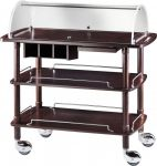 TCLC 2013W Wooden trolley wenge with plexiglass dome 3 shelves