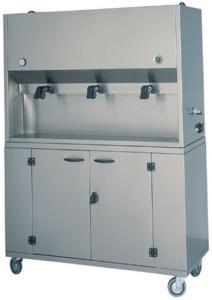 DCM1701 Distributore colazioni armadio inox ruote 3 recipienti 15 litri 106x41x135h