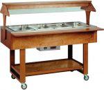 TELC 2828 Espositore legno caldo bagnomaria (+30°+90°C) 4x1/1GN cupola plx tettoia