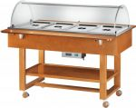 TELC 2832 Bain-marie warmed display case with wheels dome (+30°+90°C) 4x1/1GN