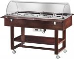 TELC 2832W Bain-marie warmed display case with wheels dome (+30°+90°C) 4x1/1GN Wengé