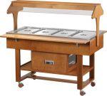 ELR2825BT Espositore legno refrigerato su ruote (-5°+5°C) 4x1/1GN tettoia