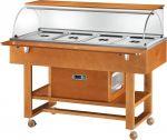 TELR 2826 Carro refrigerado de madera (+2°+10°C) 4x1/1GN cúpula plx estante superior