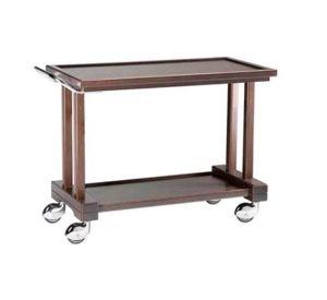 LP800W Carrello servizio legno massello Wengé 2 piani 81x55x82h