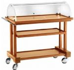TLPC 850 Wooden service trolley with dome Walnut 3 shelves 81x55x108h