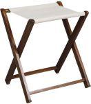 TRES 4019 Soporte para maletas de madera nogal Toalla de algodón