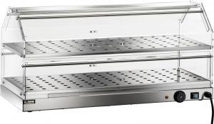 VBR4782 Vetrinetta riscaldata acciaio inox 2 piani 85x35x40h