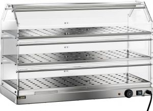 VBR4783 Vetrinetta riscaldata acciaio inox 3 piani inox 85x35x54h