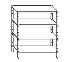 SC8301 estante de acero aluminizado 160x40x200 cm