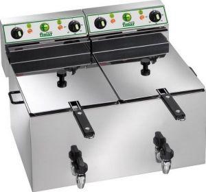 FR1010R Friggitrice elettrica trifase 6+6 kW doppia vasca 10+10 litri con rubinetti