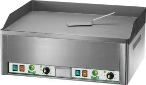 FRY2L Fry top elettrico da banco trifase 6000W doppio piano liscio acciaio