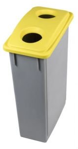 T102206 Grey Polypropylene waste bin with yellow lid 2 holes 90 liters