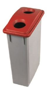 T102207 Grey Polypropylene waste bin with red lid 2 holes 90 liters