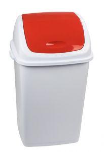 T909057 Pattumiera polipropilene bianca con coperchio basculante rosso 50 litri (confezione da 6 pezzi)