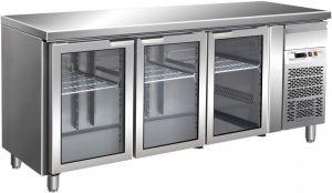 G-GN3100TNG - Tavolo refrigerato ventilato. Temperatura +2/+8°C  - Tre porte a vetro