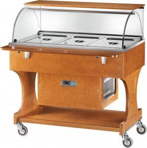 CLR2787N Carrello legno refrigerato (+2°+10°C) 3x1/1GN cupola/pianetto
