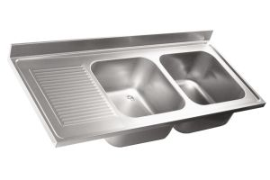 LV6022 Top 304 stainless steel sink dim.1400X600 2Vp SG SX